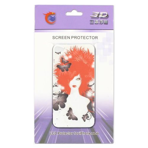 iPhone 4 Screen protector,Skque® 3D Relievo Red Hair Girl Front & Back Sticker Screen Protector Full Body Cover Film for Apple iPhone 4/4S