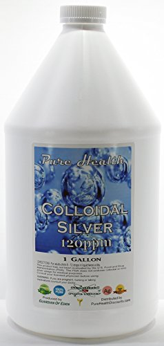 1 Gallon Concentrated Colloidal Silver 120ppm in Non-leeching Plastic Jug + Free Filled Dropper Bottle By Pure Health Discounts, a Source You Can Trust; Shipped Fast!