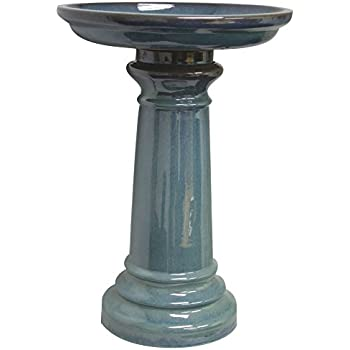 Sun Pottery GP0110ES Ceramic Bird Bath, Light Blue