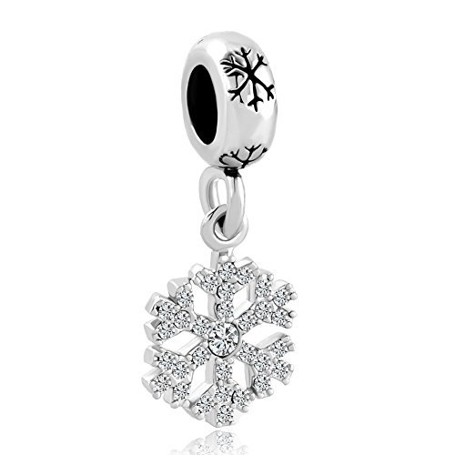Sterling Silver Snowflake Charm Clear Birthstone Crystal Dangle Holiday Bead fit Pandora Bracelet by Fit Pandora Charms
