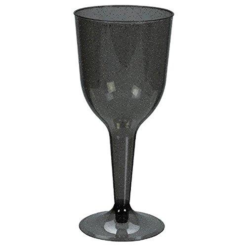 Black w/ Silver Glitter Plastic Wine Glasses ()
