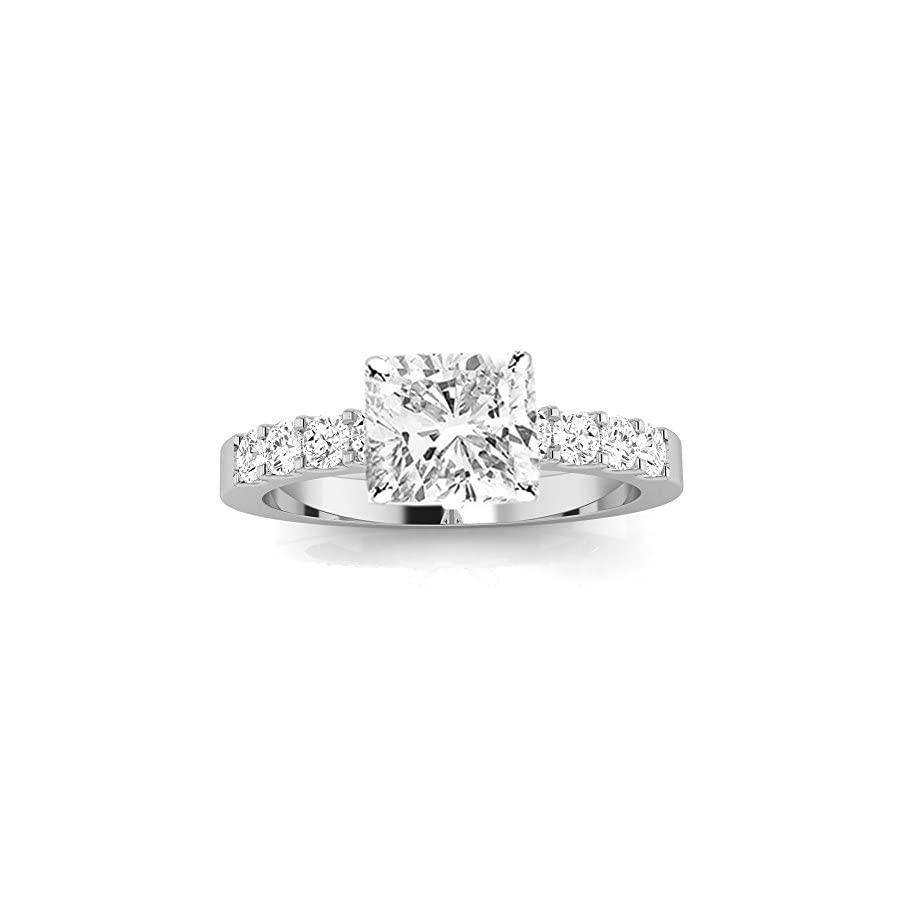 3 Ctw 14K White Gold GIA Certified Cushion Cut Classic Prong Set Diamond Engagement Ring, 2 Ct I J VVS1 VVS2 Center