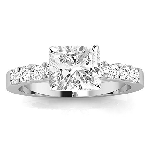 3 Ctw 14K White Gold GIA Certified Cushion Cut Classic Prong Set Diamond Engagement Ring, 2 Ct I J VVS1 VVS2 Center