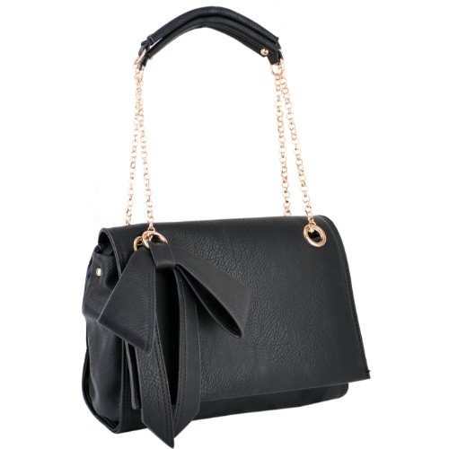 KYA Black Glamorous Bow Decor Top Double Chain Handle Satchel Office Tote Handbag Purse Shoulder Bag, Bags Central