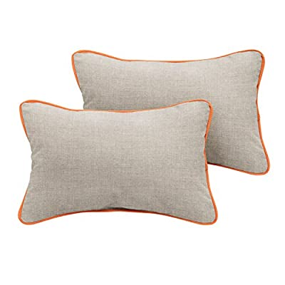 "Mozaic Company Sunbrella Indoor/ Outdoor 18"" x 12"" Corded Lumbar Pillows, Cast Silver and Canvas Tangerine, Set of 2 - Sunbrella acrylic fabric is weather, mold, stain, and fade resistant with UV protection 