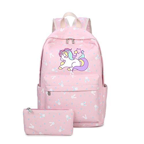 Anime Backpack With Unicorn Cartoon Canvas Bag For Teenage Girl -