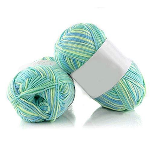 - 1Pc 50g Per Skein Soft Bamboo Crochet Cotton Knitting Baby Knit Faux Wool Yarn - #27 Green&Blue&Yellow qsbai