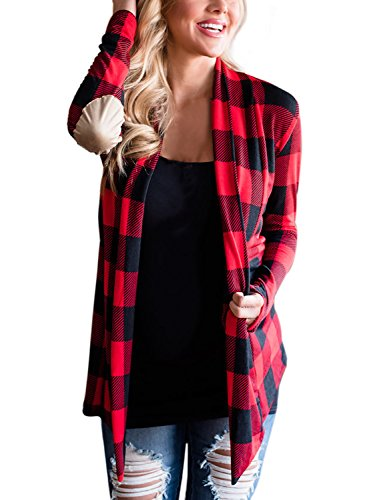 (Asvivid Womens Draped Open Front Plaid Print Long Sleeve Elbow Patch Knitted Cardigan Sweater L Red)