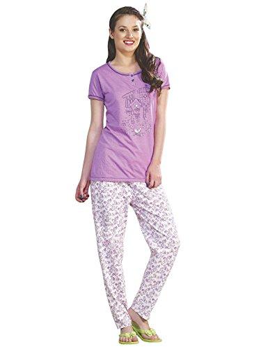Ladies Pyjama Cadrage pied Imprimé à manches courtes Violet 100% coton Pyjamas