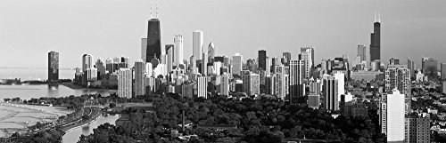 Skyline with Hancock Building and Sears Tower, Chicago, Illinois (Black & White) by Panoramic Images Art Print, 34 x 11 inches