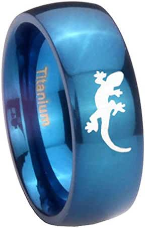 Blue IP Titanium Lizard design Dome Engraved Ring ( 6MM, 8MM ) Size 4 to 13