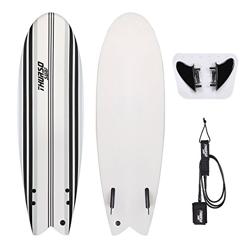 THURSO SURF Lancer 5'10'' Kids Fish Soft Top Surfboard Package Includes Twin Fins Double Stainless Steel Swivel Leash EPS Core IXPE Deck HDPE Slick Bottom Built in Non Slip Deck Grip (Gray)