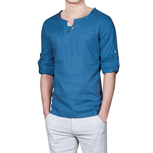 Realdo Mens Cotton Linen T-Shirt,New Summer Casual Short-Sleeved Shirt Crewneck Solid Blouse Top