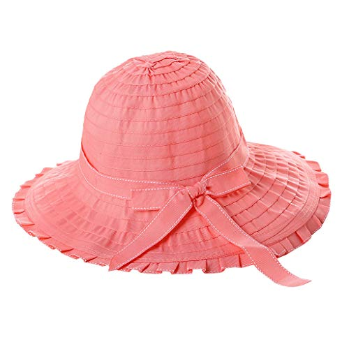 hositor Sun Hats for Women, Ladies Casual Solid Wide Brimmed Floppy Foldable Beach Hat Red ()