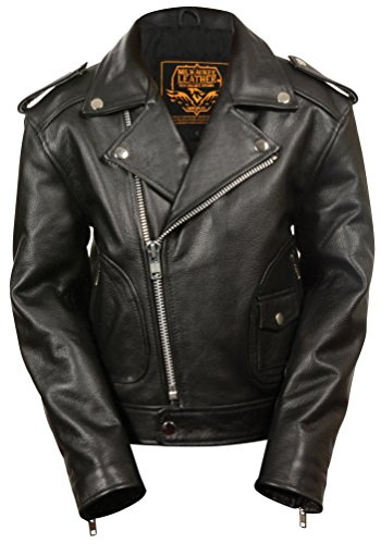 Milwaukee Leather Boys' Updated Jacket (Black, Medium) - Leather Jacket Motorcycle Kids