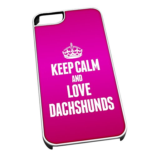 Bianco cover per iPhone 5/5S 2001Pink Keep Calm and Love Dachshunds