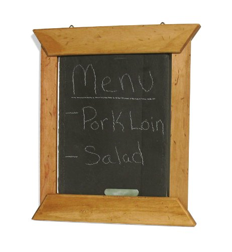 J.K. Adams 14-Inch-by-12-Inch Hanging Slate Chalk Board with Maple Wood Border, Chalk Included made in New England