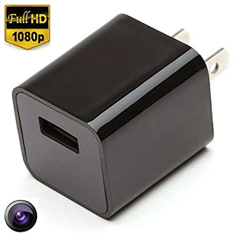 USB Hidden Spy Cameras 1080P HD Real USB Wall Charger Adapter Hidden Camera + 8GB Memory / Nanny Hidden Cam Audio + Video Loop the Latest Update Version Spy Cameras Support Up To 32GB By Fifi SpyCam