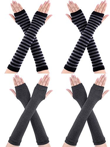 Bememo 4 Pairs Winter Long Fingerless Gloves Knitted Arm Warmer Elbow Length Gloves Thumb Hole Gloves for Women Girls (Color D)