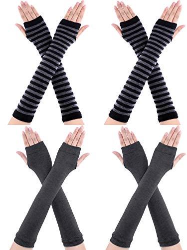 Bememo 4 Pairs Winter Long Fingerless Gloves Knitted Arm Warmer Elbow Length Gloves Thumb Hole Gloves for Women Girls (Color D)