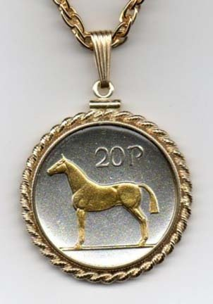 Irish 20 Pence Horse Two Tone Rope Bezel Coin Pendant with 24