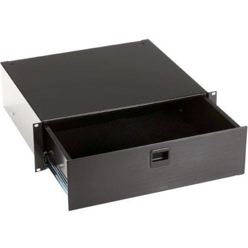 (Rackmount Media Storage Drawer, 3U, Blac)