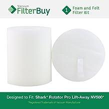 Shark Rotator Pro Lift-Away NV500 Replacement Foam & Felt Filter Kit, Part # XFF500. Designed by FilterBuy to fit Shark Rotator Pro Lift-Away Vacuum Models NV500, NV70, NVC80C, NV90