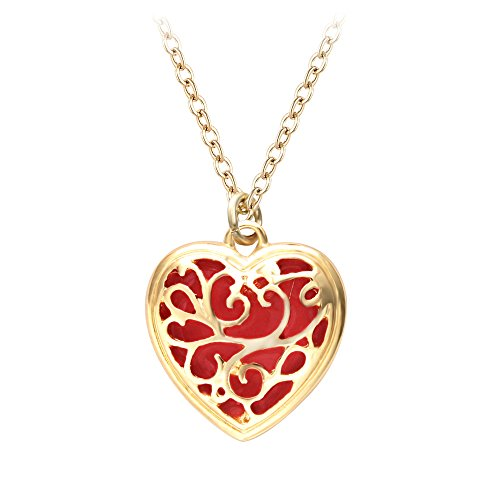 SENFAI 10K Gold Plated Magic Heart Charm Pendant Necklace (Red) - Red Flat Heart Charm