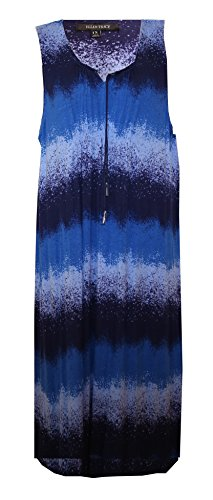 Ellen Tracy Watercolor Step Hem Maxi Lounge Dress/Nightgown/Cover-up (Medium, Watercolor Navy-Light Blue-Royal Blue=Periwinkle) (Periwinkle Nightgown)