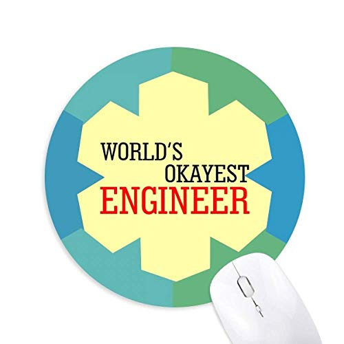 World's Okayest Engineer Best Quote Round Rubber Blue Snowflake Mouse Pad