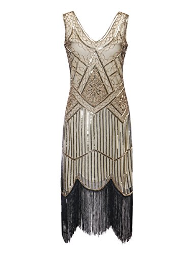 Zhisheng You Roaring 20s Women's Vintage 1920s Sequin Beaded Tassels Flapper Dress V-Neck Fringed Gatsby Costume Dress (XL, Beige+Gold)