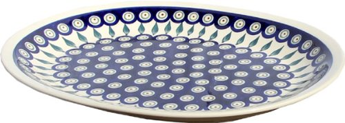 Polish Pottery Large Serving Platter Zaklady Ceramiczne Boleslawiec 1007-56 Peacock by Polish Pottery Market