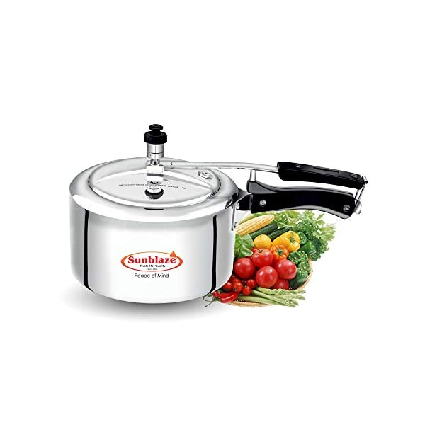 Sunblaze Secura Non Induction Base Best Aluminium Heavy Pressure Cooker with Inner Lid Silver 1.5 Litres