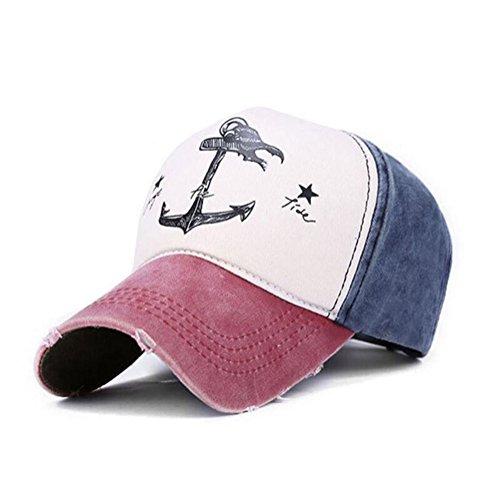 Unisex Pirate Ship Anchor Baseball Cap Multicolor Printing Adjustable Hip-Hop Cap Hat (Wine (Anchor Ball Cap)