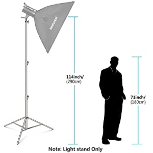 Neewer 2 Pieces Light Stand Kit, 114 inches/290 Centimeters Stainless Steel Heavy Duty with 1/4-inch to 3/8-inch Universal Adapter for Studio Softbox, Monolight and Other Photographic Equipment