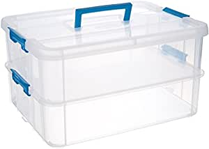 Sterilite 14228604 Stack & Carry 2 Layer Handle Box, 1 - Pack