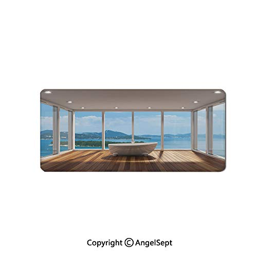 - Large Gaming Mouse Pad with Durable Stitched Edges, Non-Slip Rubber Base, Mouse Mat for Office/Computer/Laptop-Bathroom Decor,Minimalist Design Bathtub with Relaxing Scenery of Isla,16