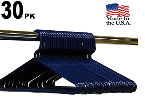 Best Durable Everyday Heavy-Duty Adult Thick Plastic Clothing Tubular Hangers - No Hooks, USA Made (Set of 30 Dark Blue)