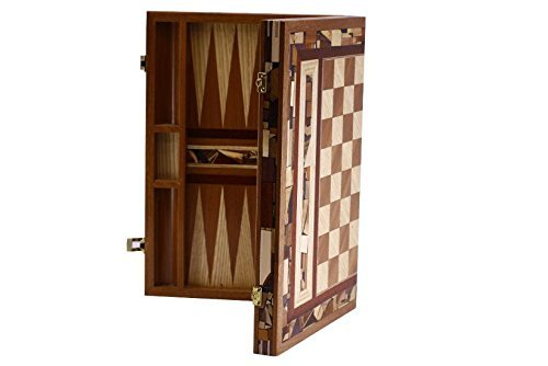 - Designer Backgammon Set & Chess Board - Wood & Wood Mosaics - Artisan Shesh Pesh