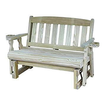 CAF Amish Heavy Duty 800 Lb Mission Pressure Treated Porch Glider with Cupholders 5 Foot, Unfinished