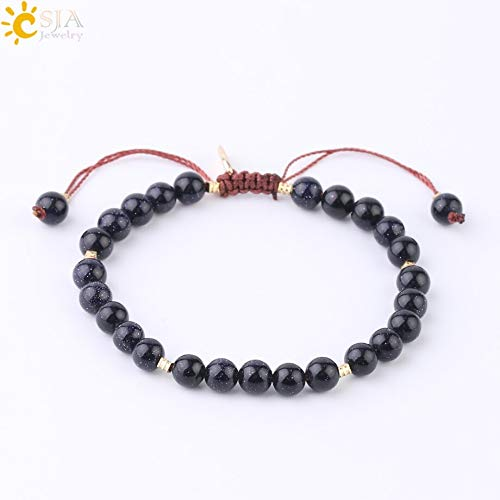 - Zozu CSJA Handmade Tag Bracelets for Female Knot Buckle 6mm Natural Stone Moss Agates Tiger Eye Blue Goldstone Beaded Bracelet S214 (Blue Goldstone)