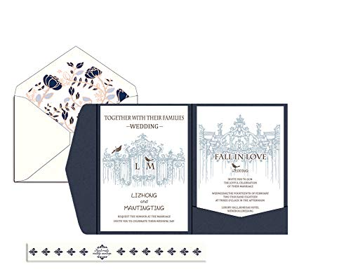 LETTENG 50 Pack Customized Invitation Card with Envelope, Lettrepress Craft, Luxury DIY, Wedding, Birthday Party, Baby Shower (1) (Letterpress Baby Shower Invitations)