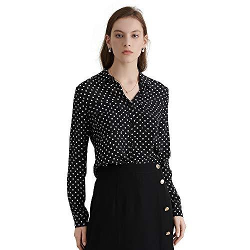 (LilySilk Silk Shirts for Women Buttons Long Sleeve Vintage Polka Dot Pattern Pure Natural Silk Blouse Black XS/0-4)