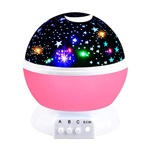 Our Day Toys for 3-12 Year Old Boys, Night Light Moon Star 360° Rotation Best Gifts for Kids Toys for 3-12 Year Old Girls Gifts 2018 Chritmas New Gifts Pink ODUSXK09