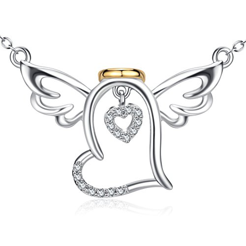 925 Sterling Silver Guardian Halo Angel Wings Heart Pendant Necklace 18