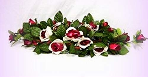 Inna-Wholesale Art Crafts New Rose Swag Cream Burgundy Silk Centeripece Decorating Flowers Arch Gazebo DIY - Perfect for Any Wedding, Special Occasion or Home Office D?cor