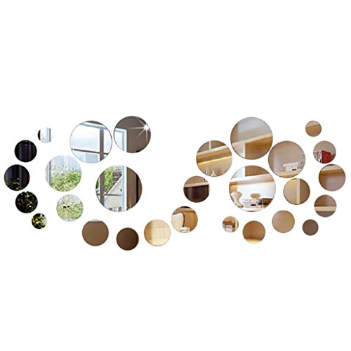 Cheap  Finance Plan Big Promotion 28 Pcs 3D Circle Mirror Acrylic Wall Sticker..