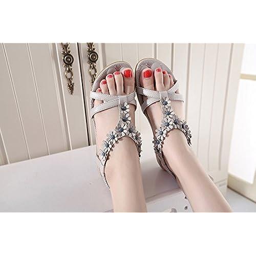 82604ce1 Buena Ruiren Sandalias Bohemias de La Flor de Las Mujeres, Zapatos Planos  del Verano para