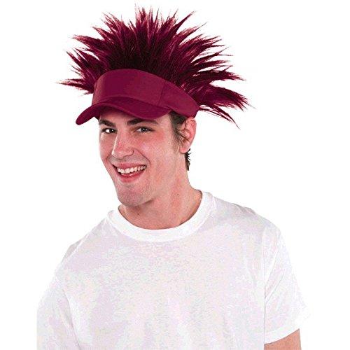 Amscan Burgundy Spiked Visor Hat Funny Headwear, Burgundy, 16.25 x 8.25 by Amscan