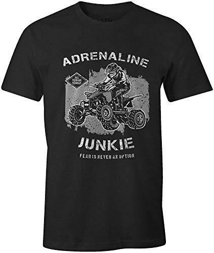 Adrenaline Junkie Fear is Never an Option Off Roading ATV Quad Tee 100% Cotton T-Shirt Black ()